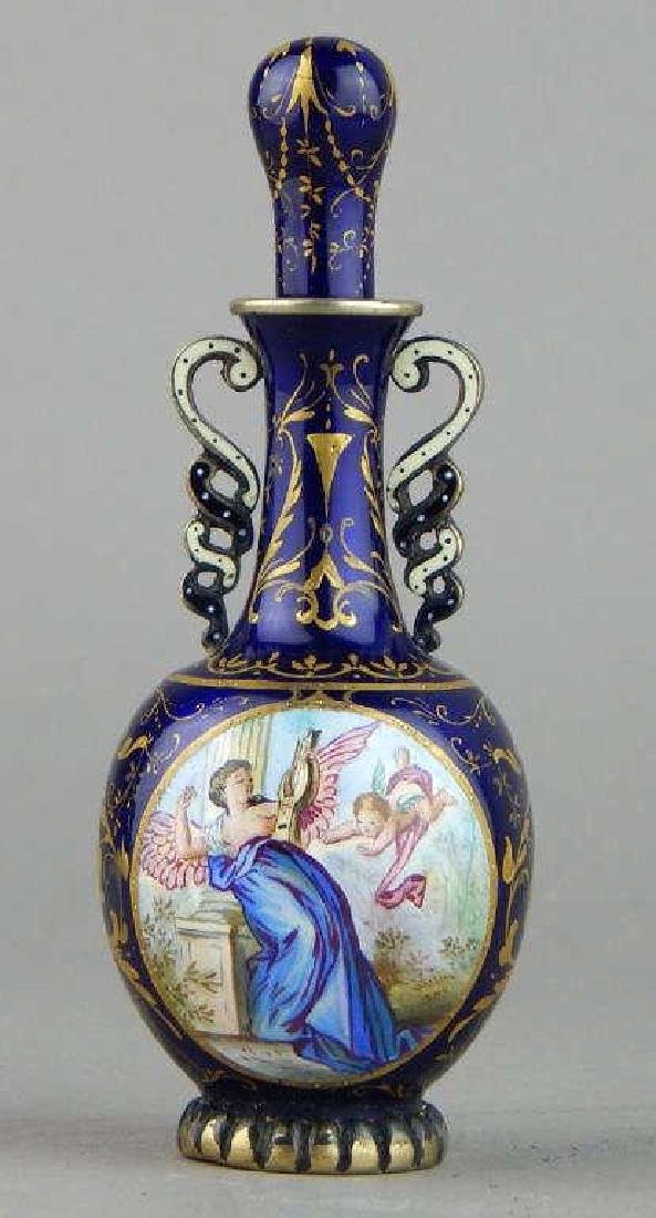 19th Century Viennese Enamel and Silver Perfume - 3