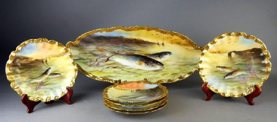 Limoges Porcelain Fish Platter with 6 Plates