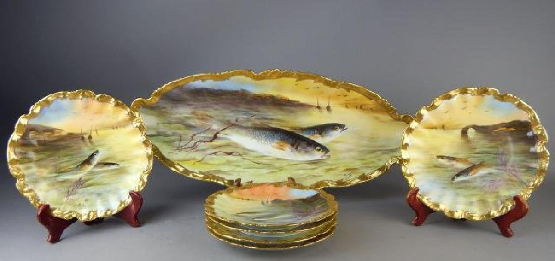 Limoges Porcelain Fish Platter with 6 Plates - 2