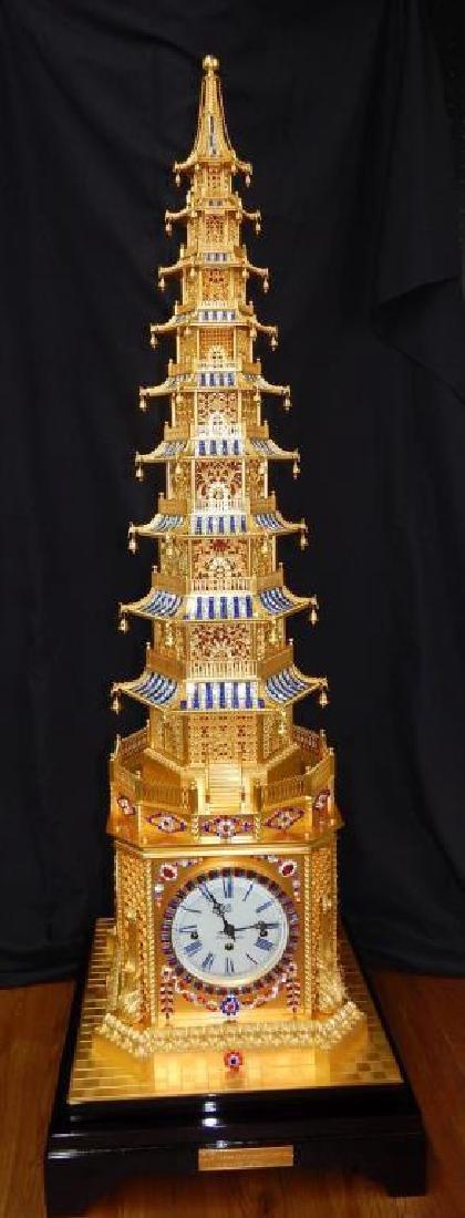 24kt Dore Bronze Jeweled Pagoda Mantle Clock