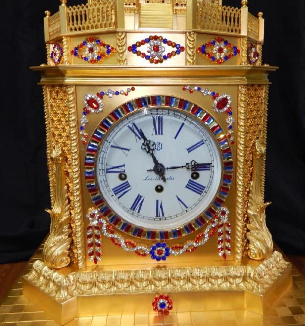 24kt Dore Bronze Jeweled Pagoda Mantle Clock - 2