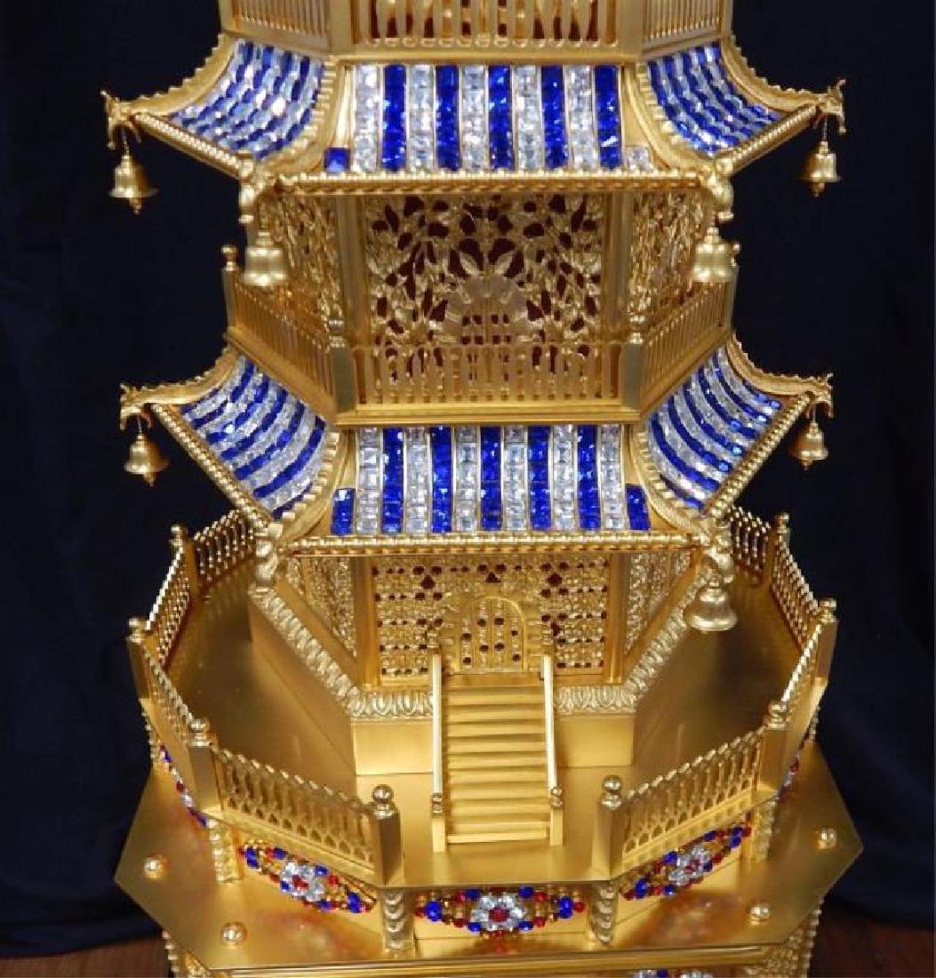 24kt Dore Bronze Jeweled Pagoda Mantle Clock - 3