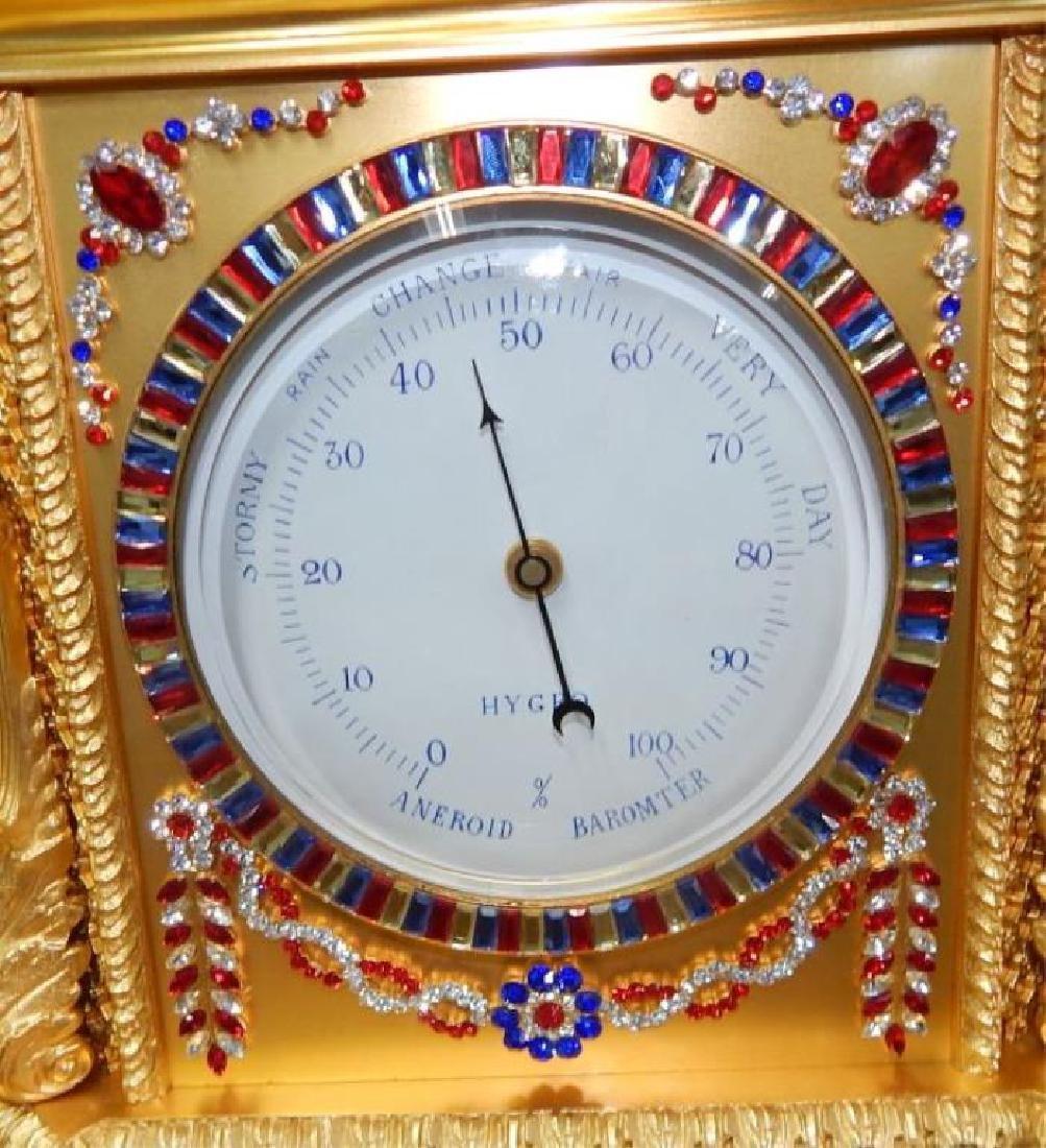 24kt Dore Bronze Jeweled Pagoda Mantle Clock - 4