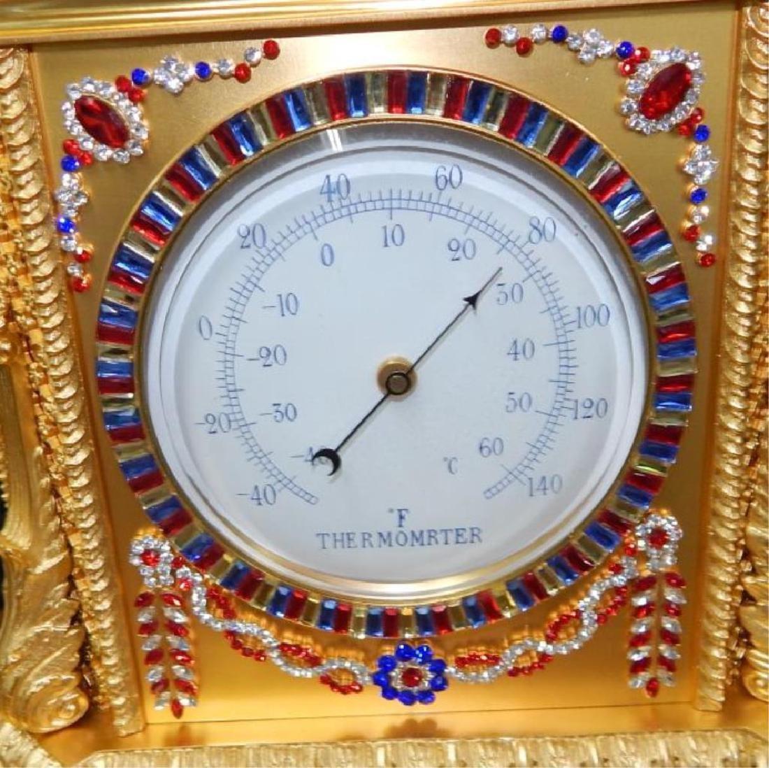 24kt Dore Bronze Jeweled Pagoda Mantle Clock - 6