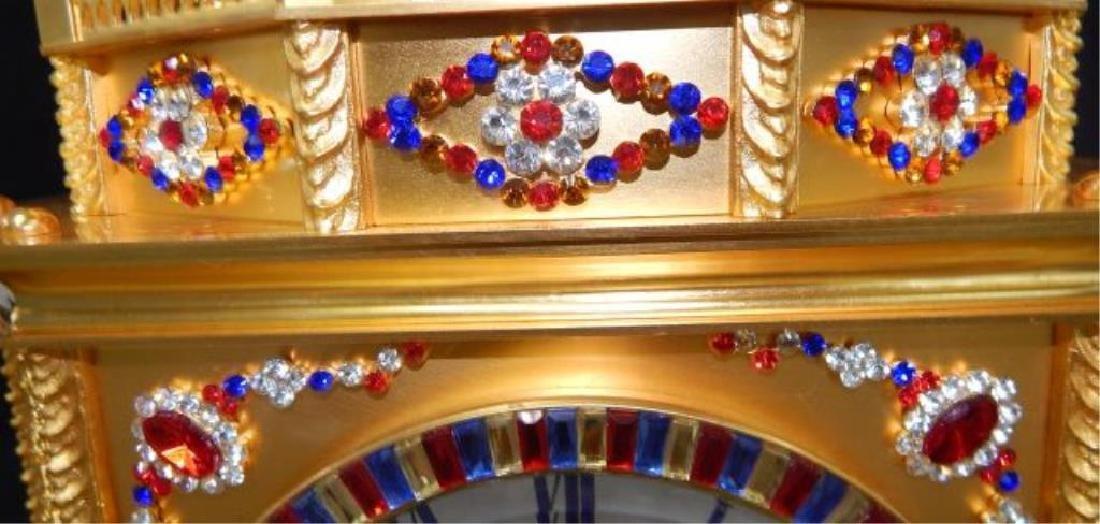 24kt Dore Bronze Jeweled Pagoda Mantle Clock - 9