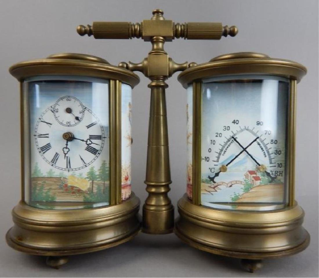 Bronze Double Barometer & Thermometer 8-Day Clock