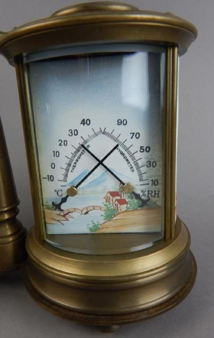 Bronze Double Barometer & Thermometer 8-Day Clock - 3