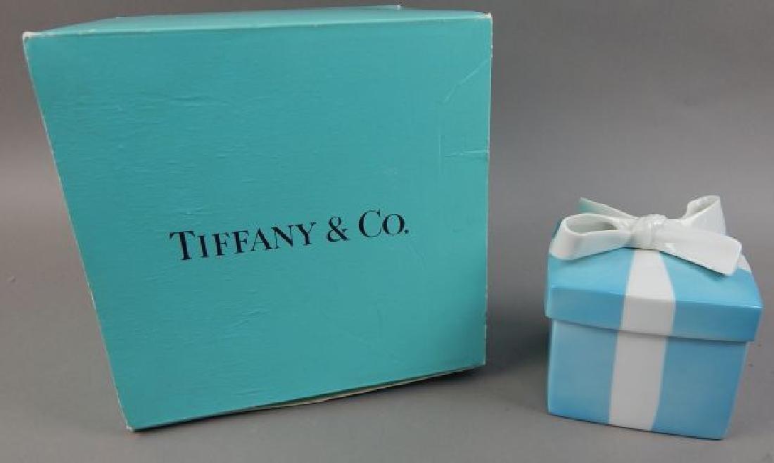 Tiffany Aqua Porcelain Box with Ribbon