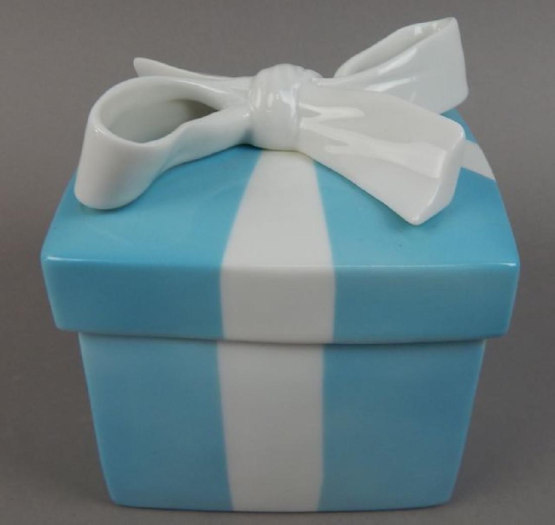 Tiffany Aqua Porcelain Box with Ribbon - 2
