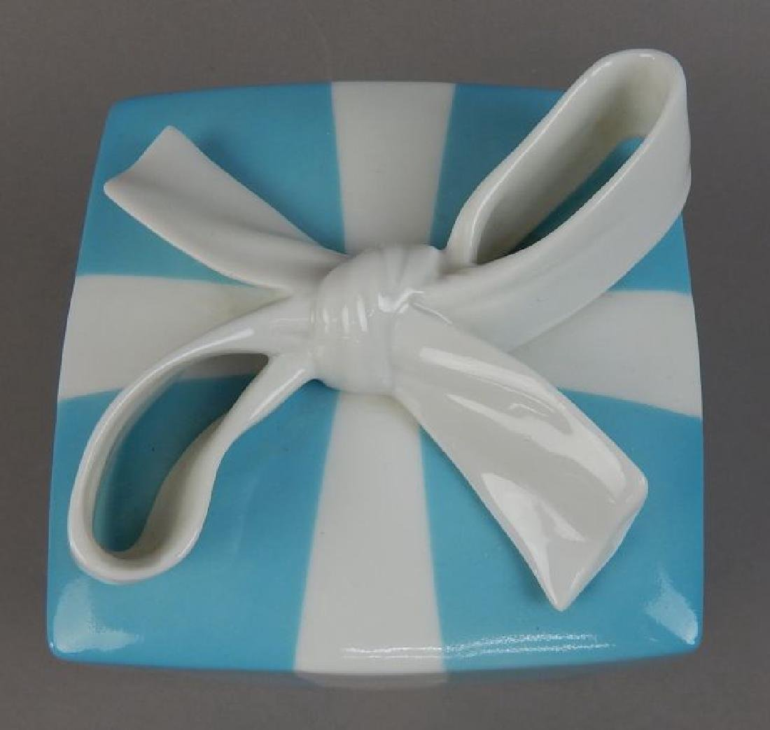 Tiffany Aqua Porcelain Box with Ribbon - 3
