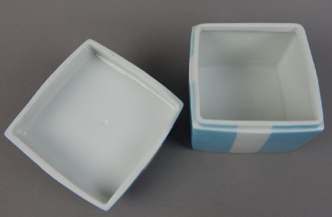Tiffany Aqua Porcelain Box with Ribbon - 4