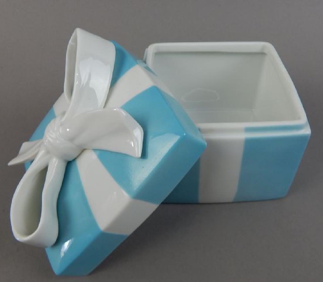Tiffany Aqua Porcelain Box with Ribbon - 5