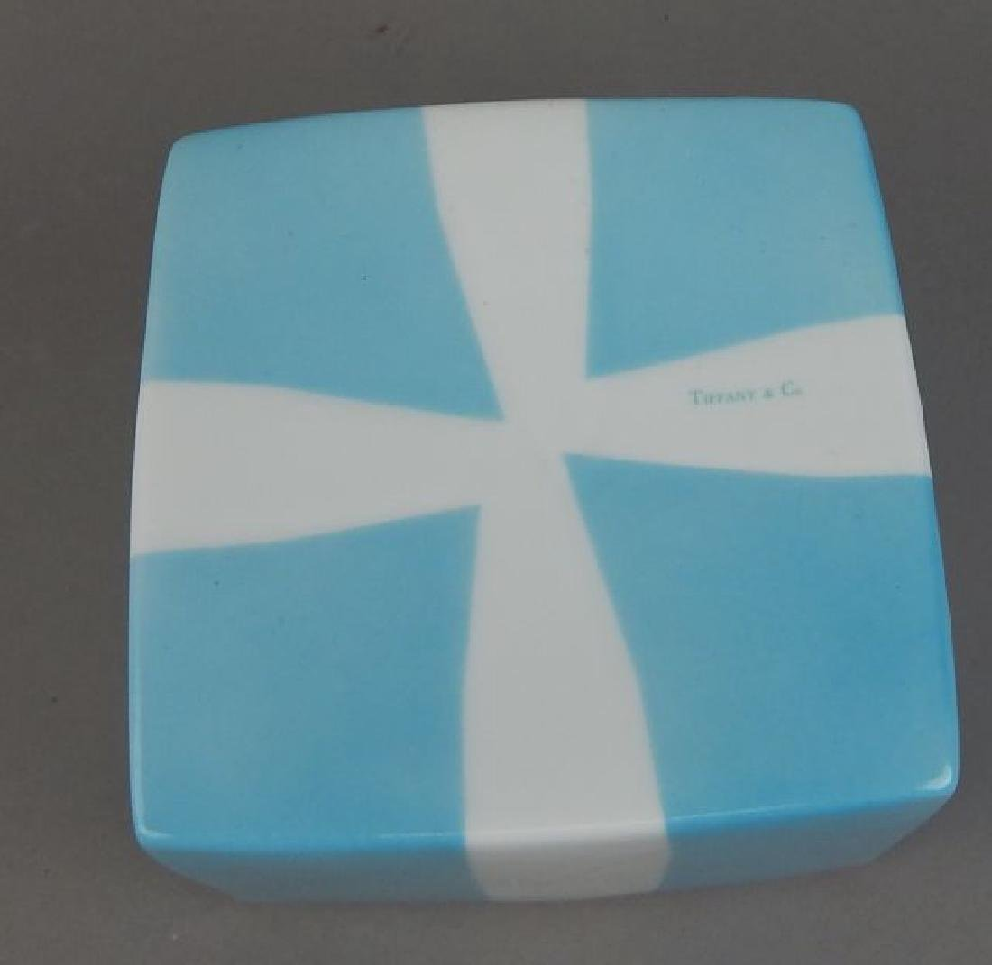 Tiffany Aqua Porcelain Box with Ribbon - 6