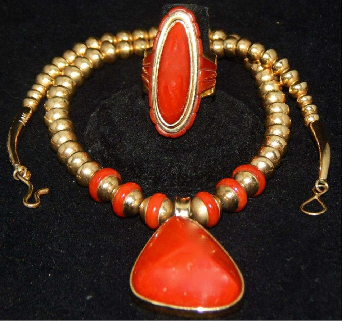 Sgd Unique 14k Yellow Gold and Coral Necklace & Ring