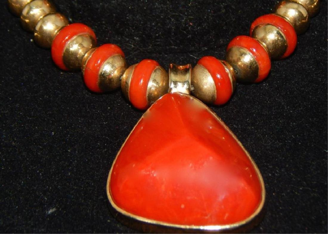 Sgd Unique 14k Yellow Gold and Coral Necklace & Ring - 2