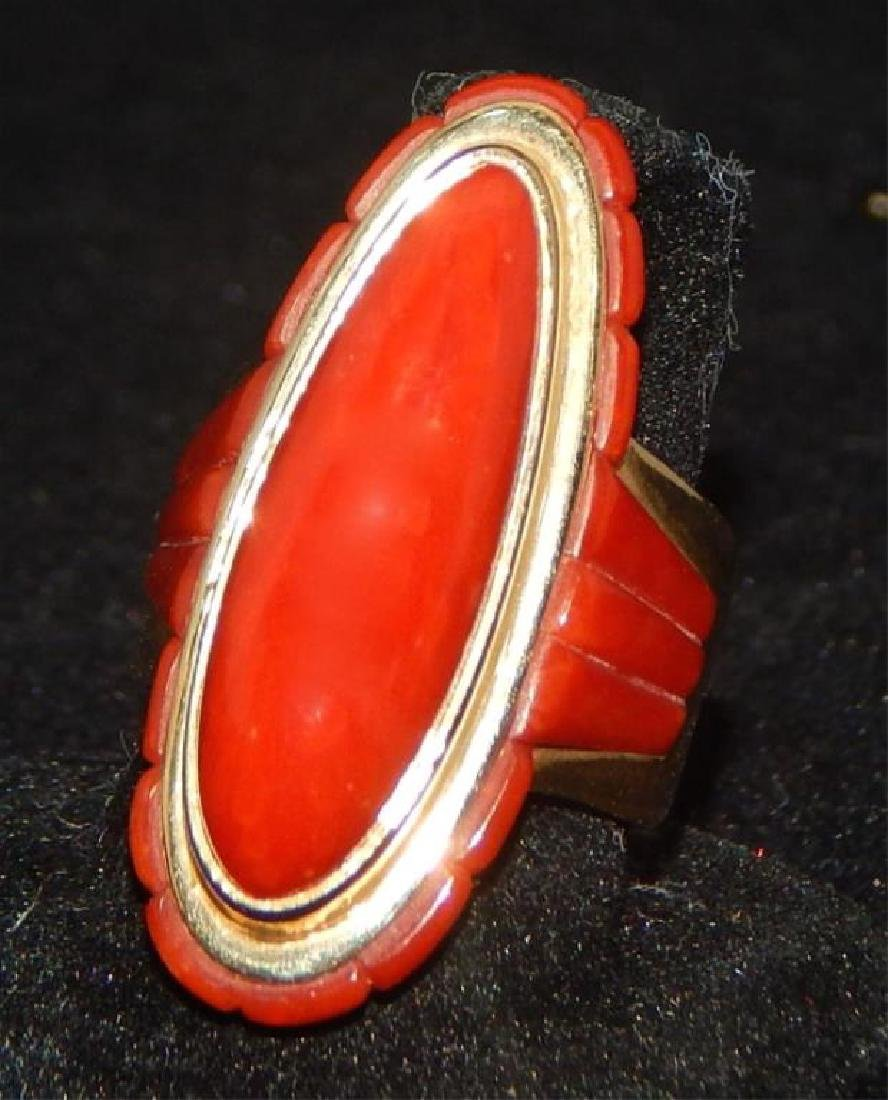 Sgd Unique 14k Yellow Gold and Coral Necklace & Ring - 6