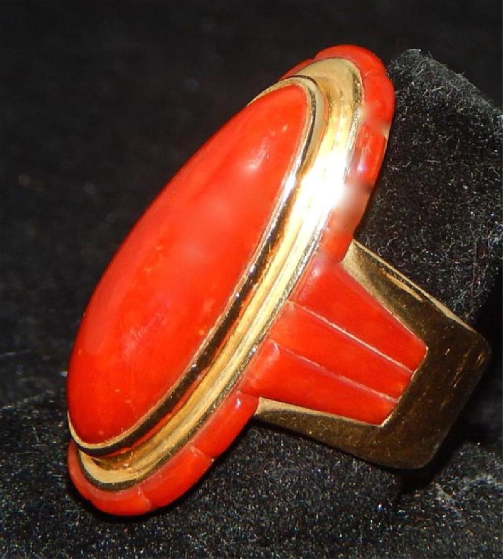 Sgd Unique 14k Yellow Gold and Coral Necklace & Ring - 7