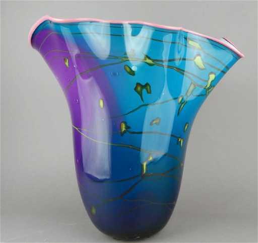 Large Signed Blown Art Glass Vase