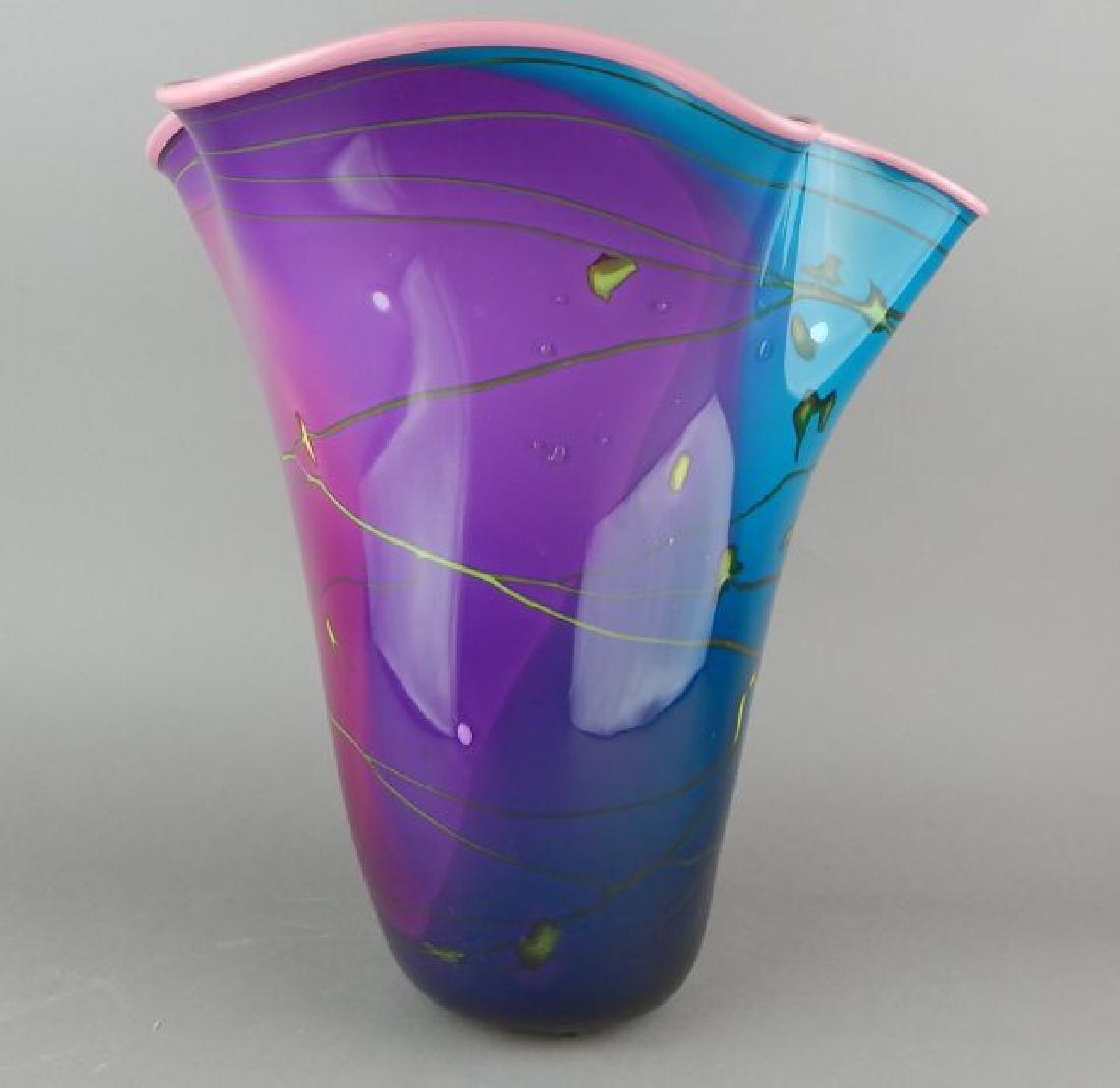 Large Signed Blown Art Glass Vase - 6