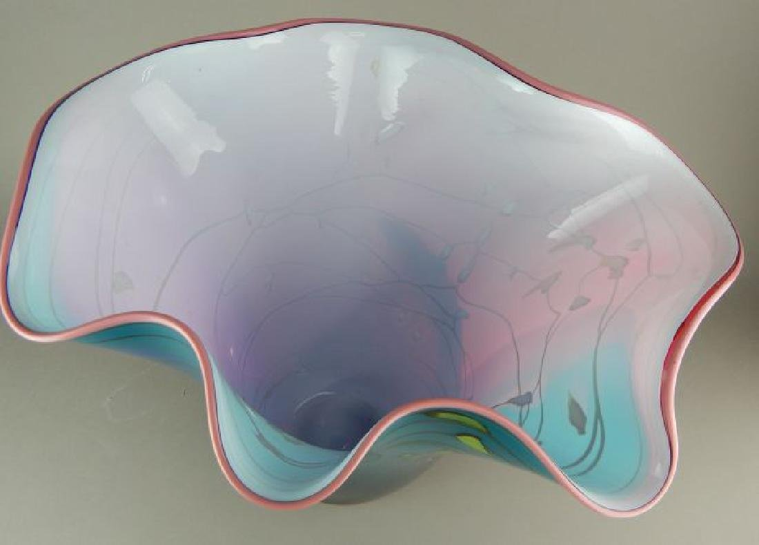 Large Signed Blown Art Glass Vase - 7