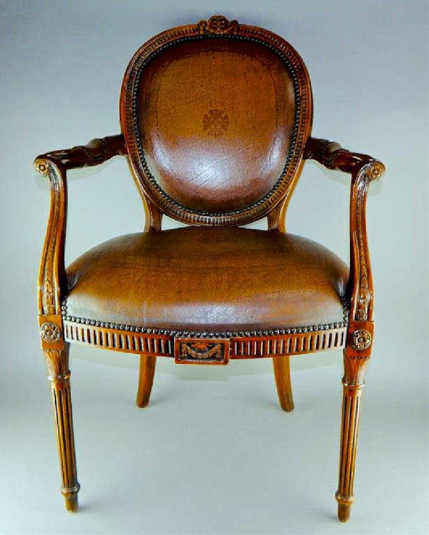 Quality Italian Carved Wood and Leather Arm chair