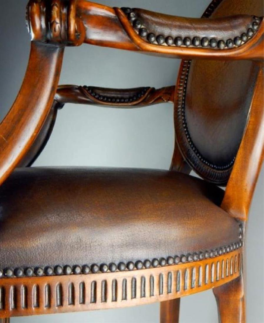 Quality Italian Carved Wood and Leather Arm chair - 2