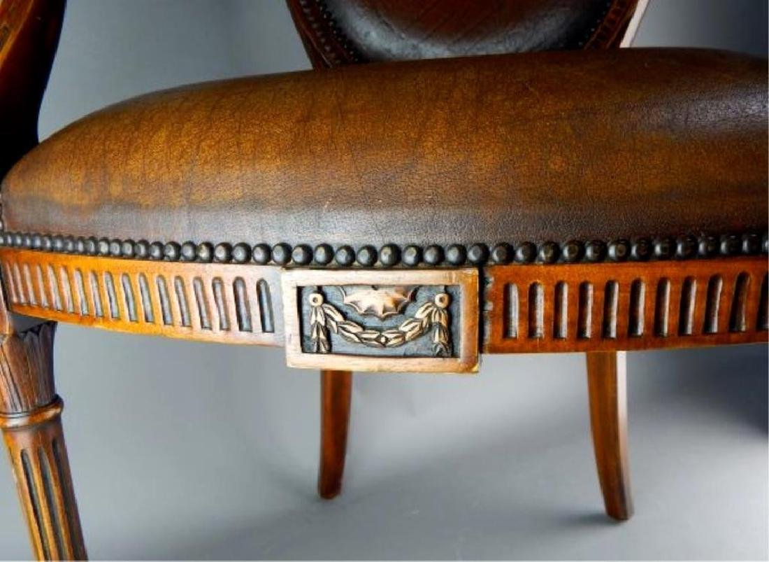 Quality Italian Carved Wood and Leather Arm chair - 3