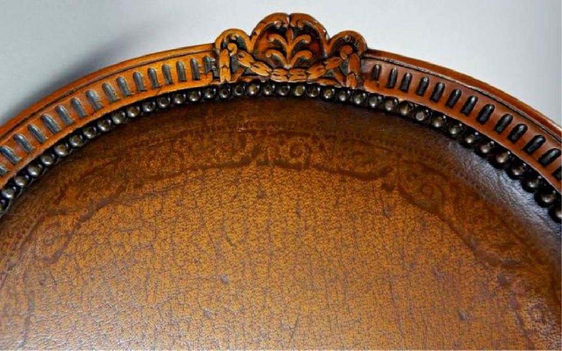 Quality Italian Carved Wood and Leather Arm chair - 4