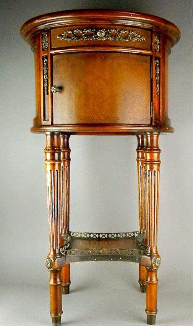 Quality Italian Leather Top Cabinet Side Table