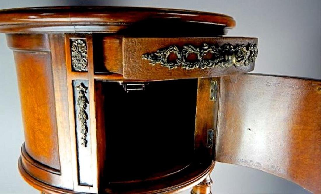 Quality Italian Leather Top Cabinet Side Table - 7