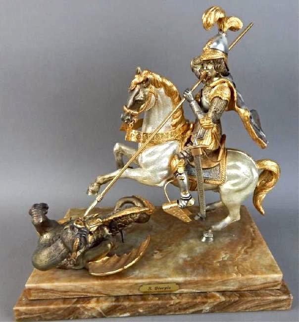 Piero Benzoni Silver & Gold Over Bronze Sclupture