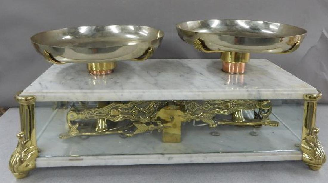 Antique Marble & Brass Gold Scale w/ Glass Panels