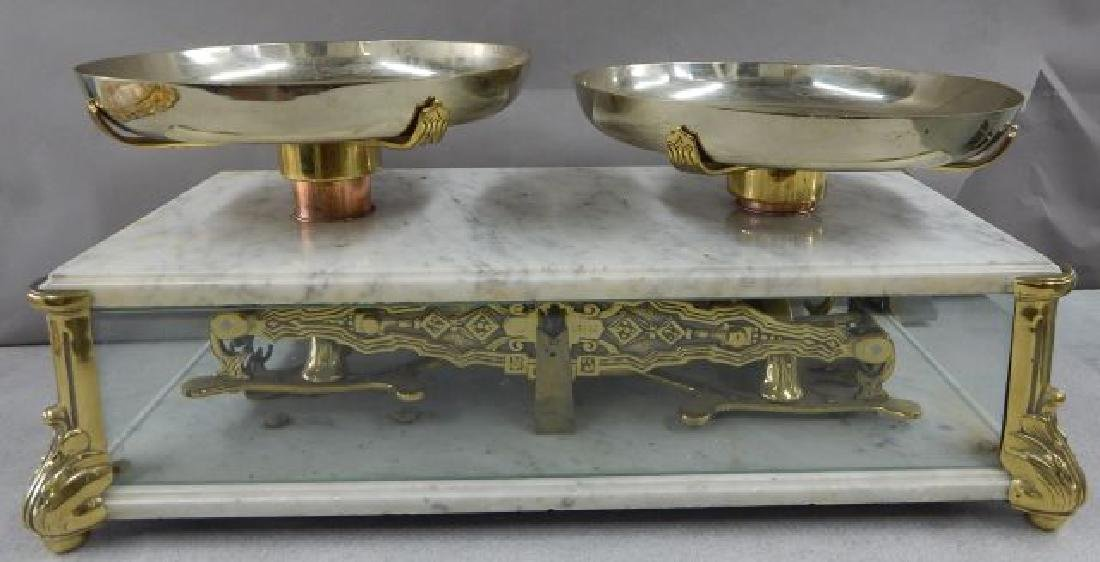 Antique Marble & Brass Gold Scale w/ Glass Panels - 5