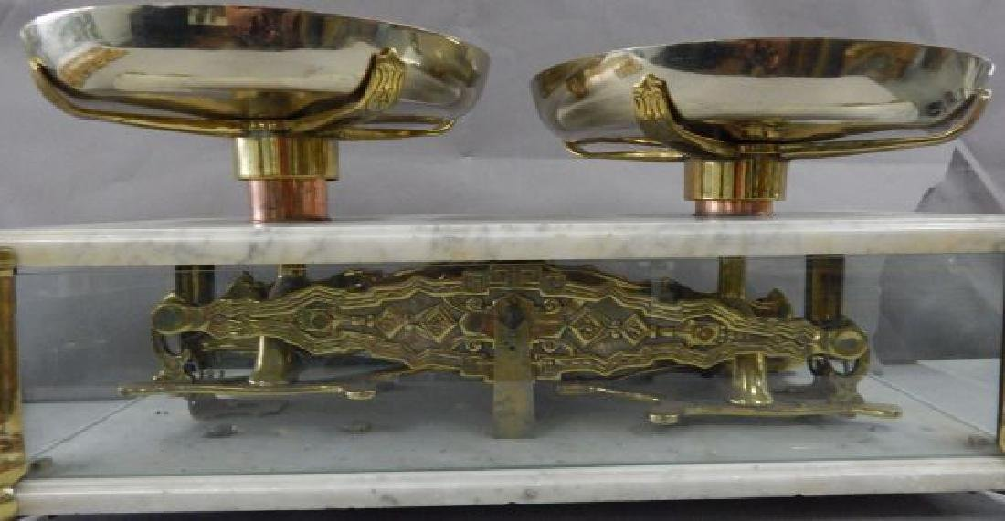 Antique Marble & Brass Gold Scale w/ Glass Panels - 7
