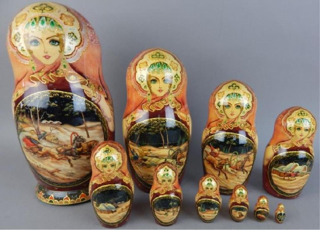 Hand Painted Gold Enameled Russian Nesting Dolls - 3
