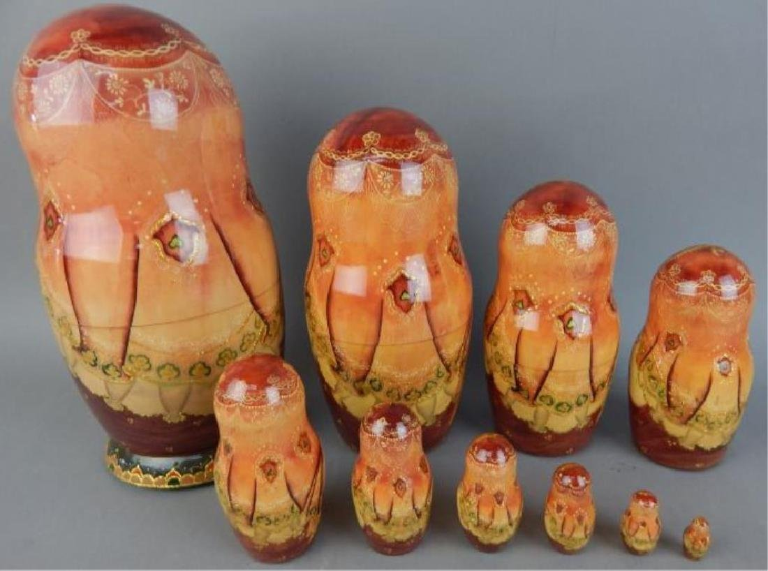 Hand Painted Gold Enameled Russian Nesting Dolls - 4