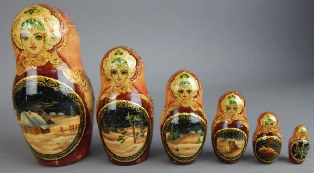 Hand Painted Gold Enameled Russian Nesting Dolls - 5