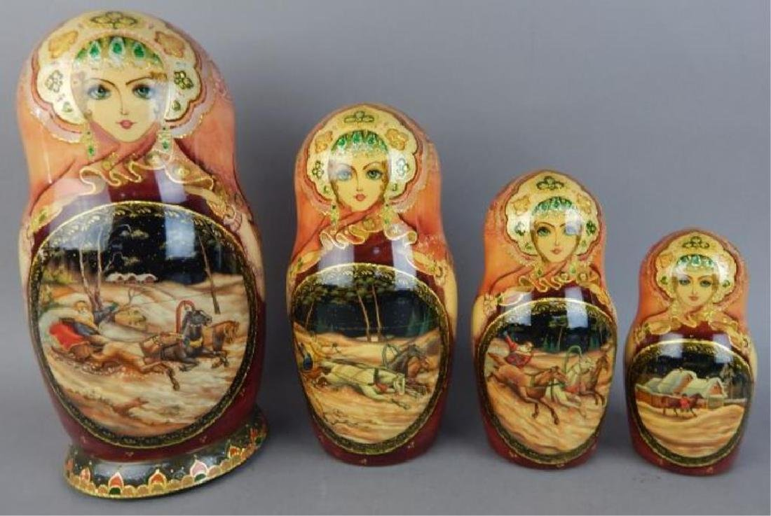Hand Painted Gold Enameled Russian Nesting Dolls - 6