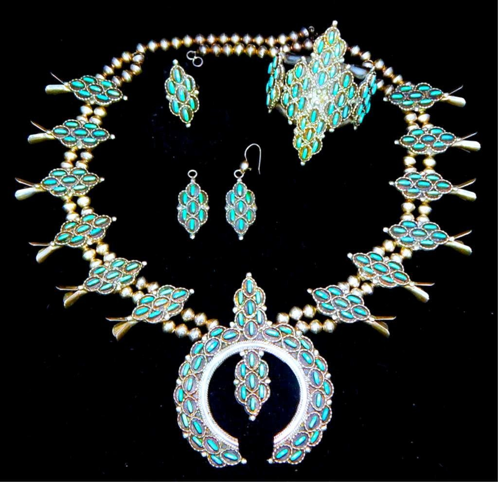 Sterling & Turquoise Squash Blossom 4 piece Set