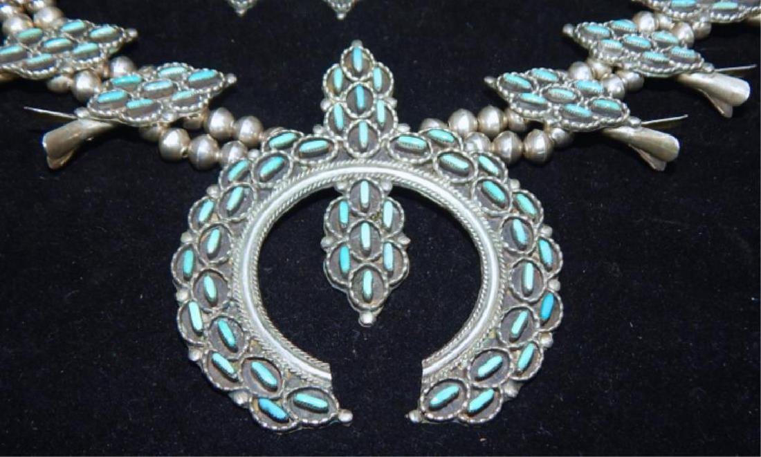 Sterling & Turquoise Squash Blossom 4 piece Set - 2