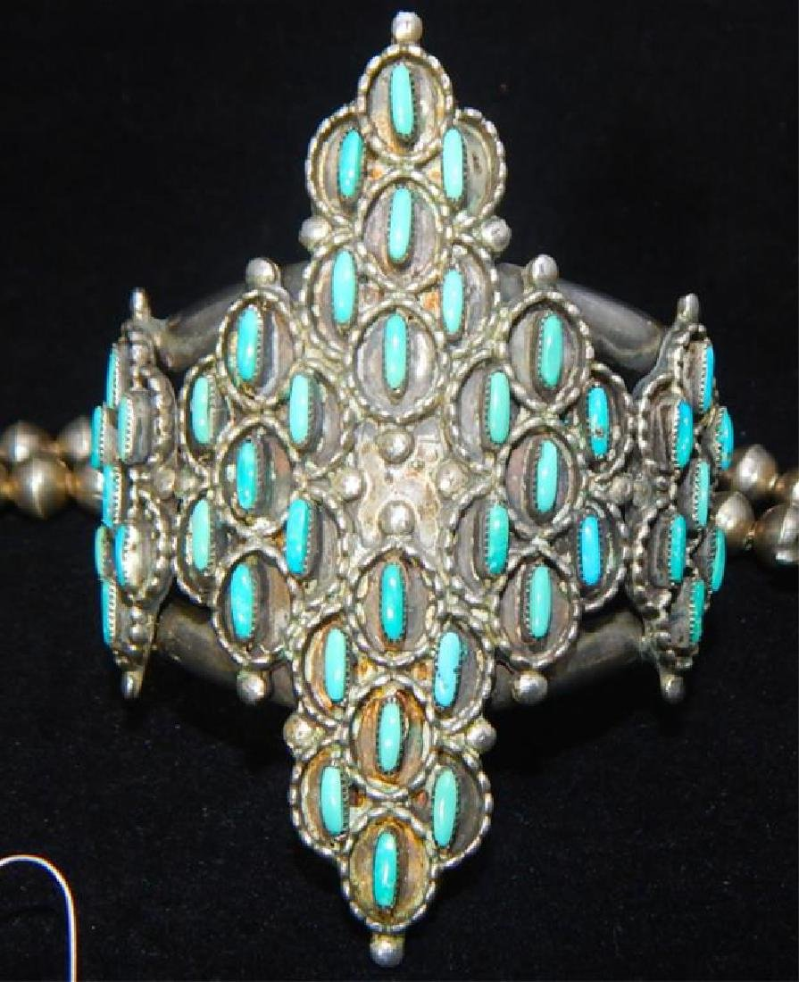 Sterling & Turquoise Squash Blossom 4 piece Set - 3