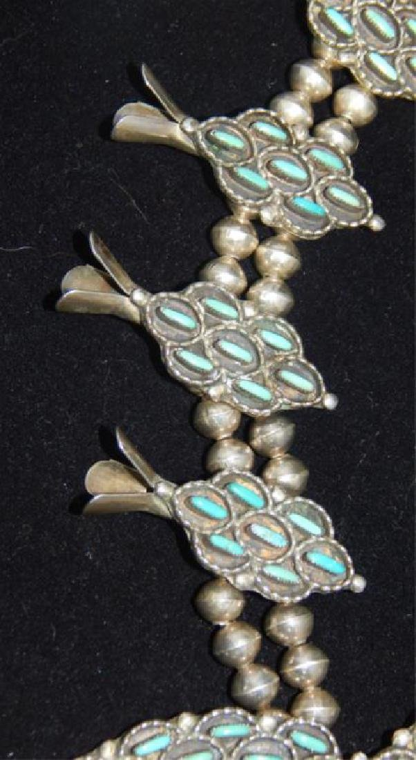 Sterling & Turquoise Squash Blossom 4 piece Set - 4