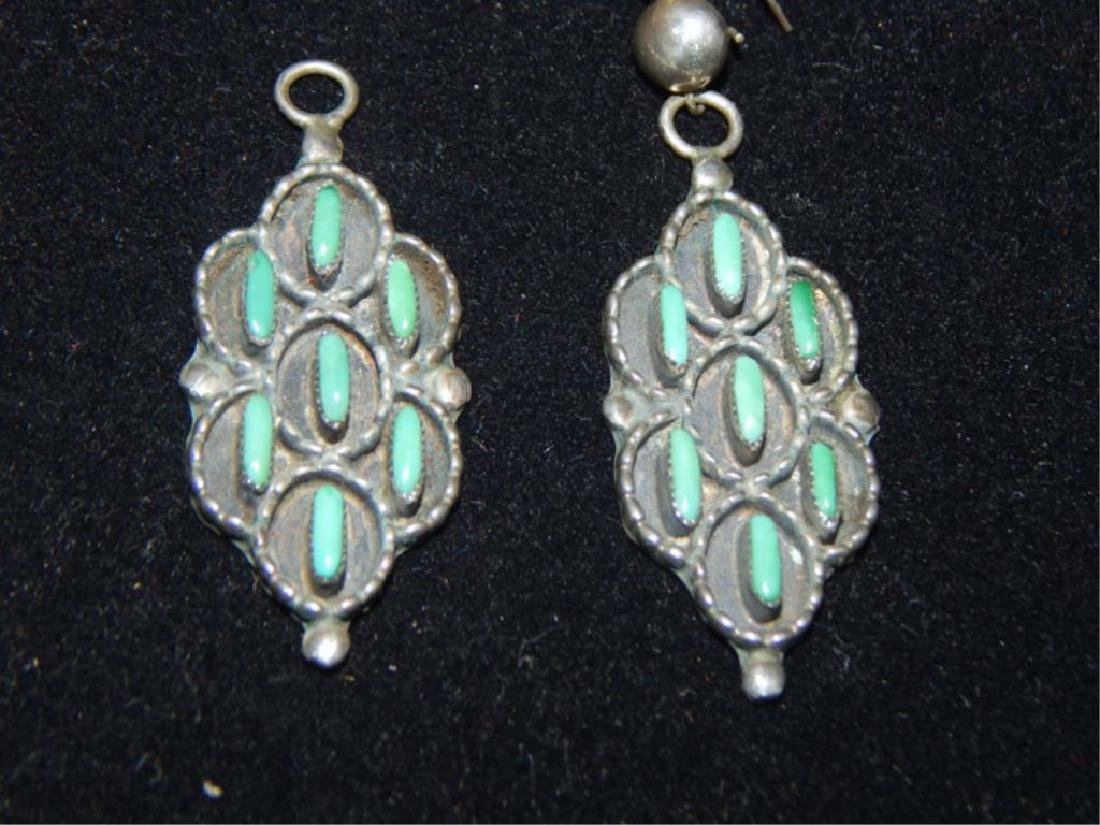 Sterling & Turquoise Squash Blossom 4 piece Set - 6