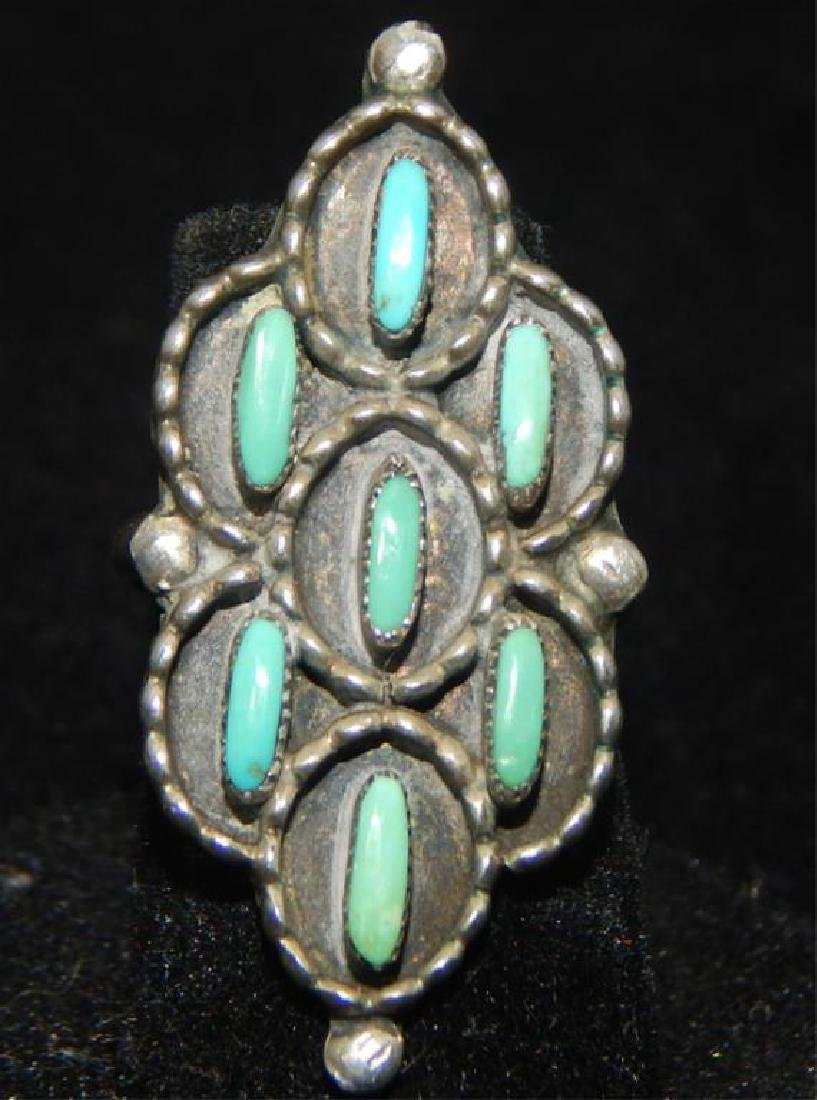 Sterling & Turquoise Squash Blossom 4 piece Set - 7