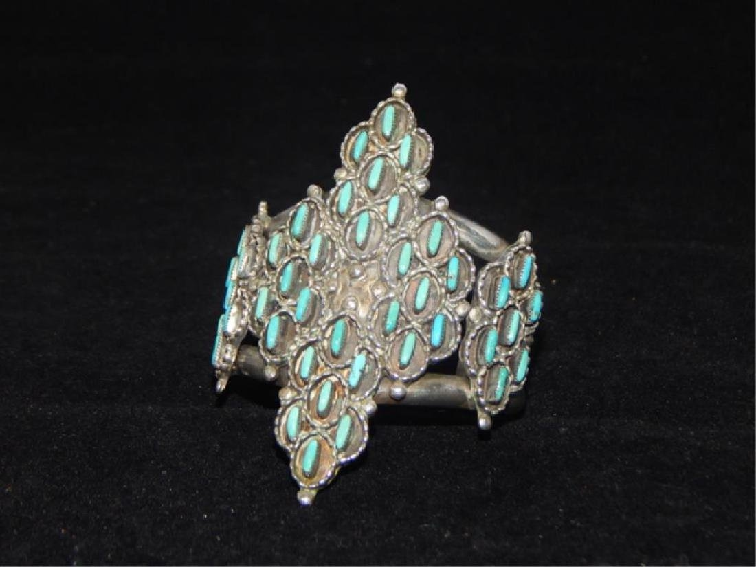 Sterling & Turquoise Squash Blossom 4 piece Set - 8