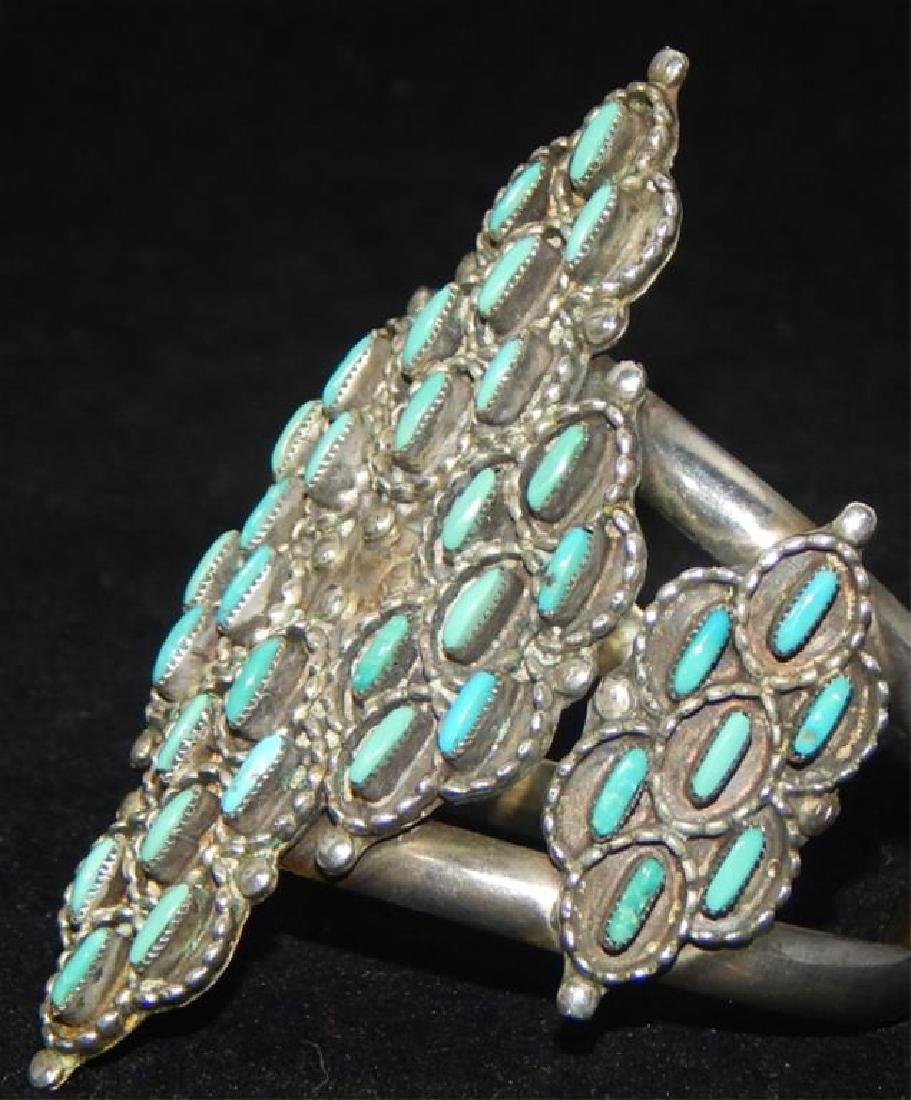 Sterling & Turquoise Squash Blossom 4 piece Set - 9