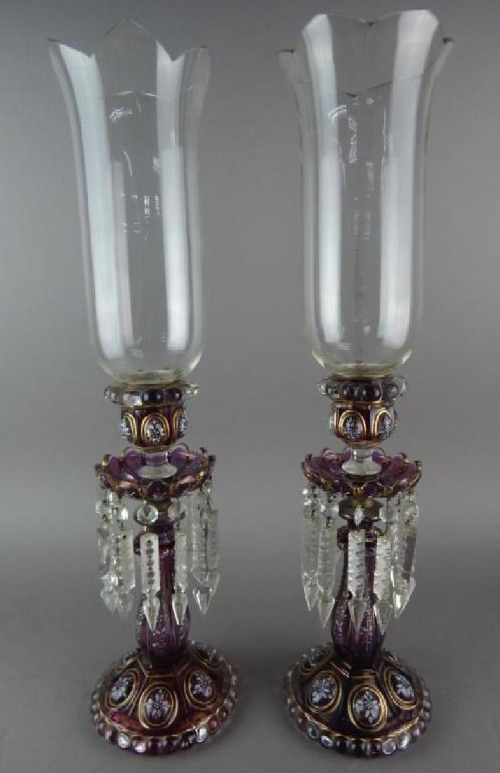 Pair of Purple Enameled Baccarat Hurricane Lamps
