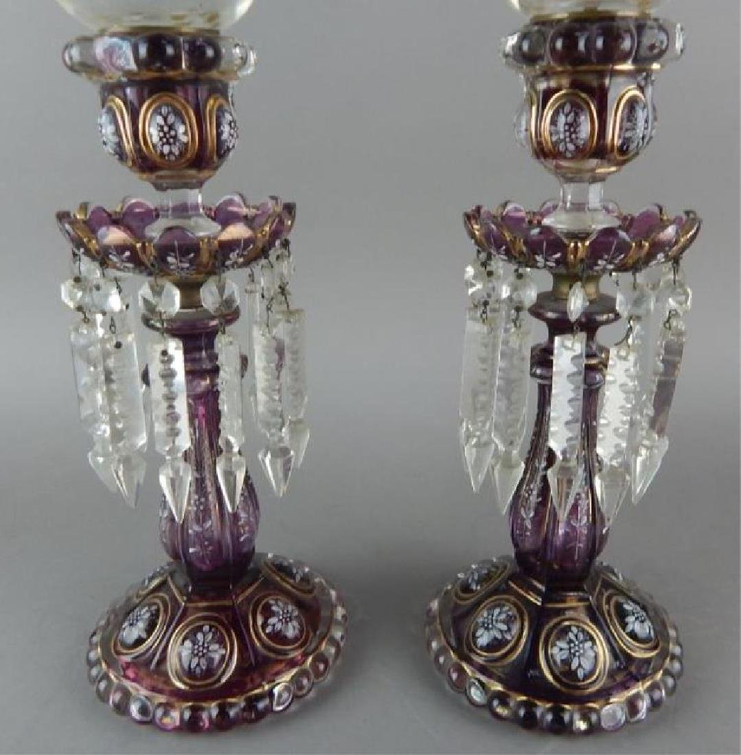 Pair of Purple Enameled Baccarat Hurricane Lamps - 2