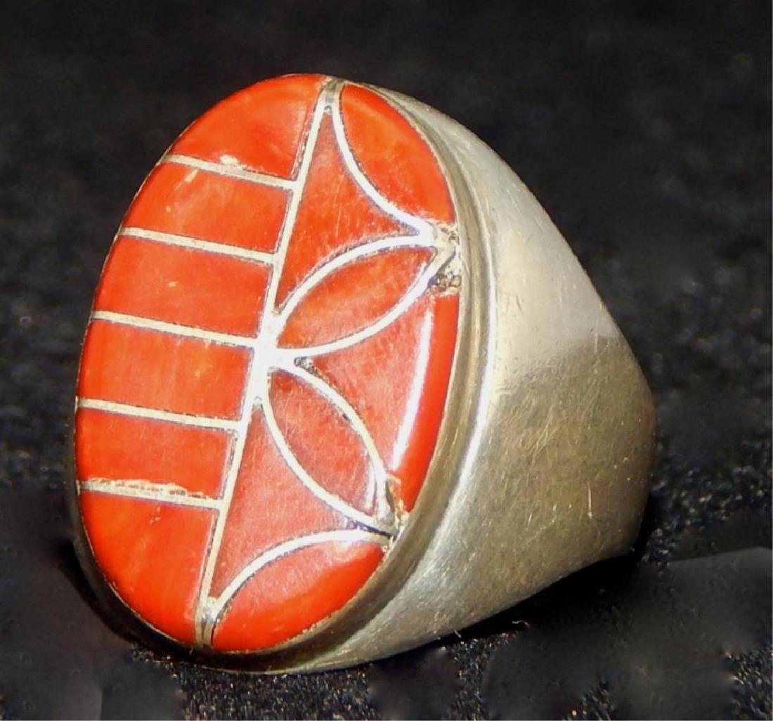 Native American Zuni Sterling & Coral Ring