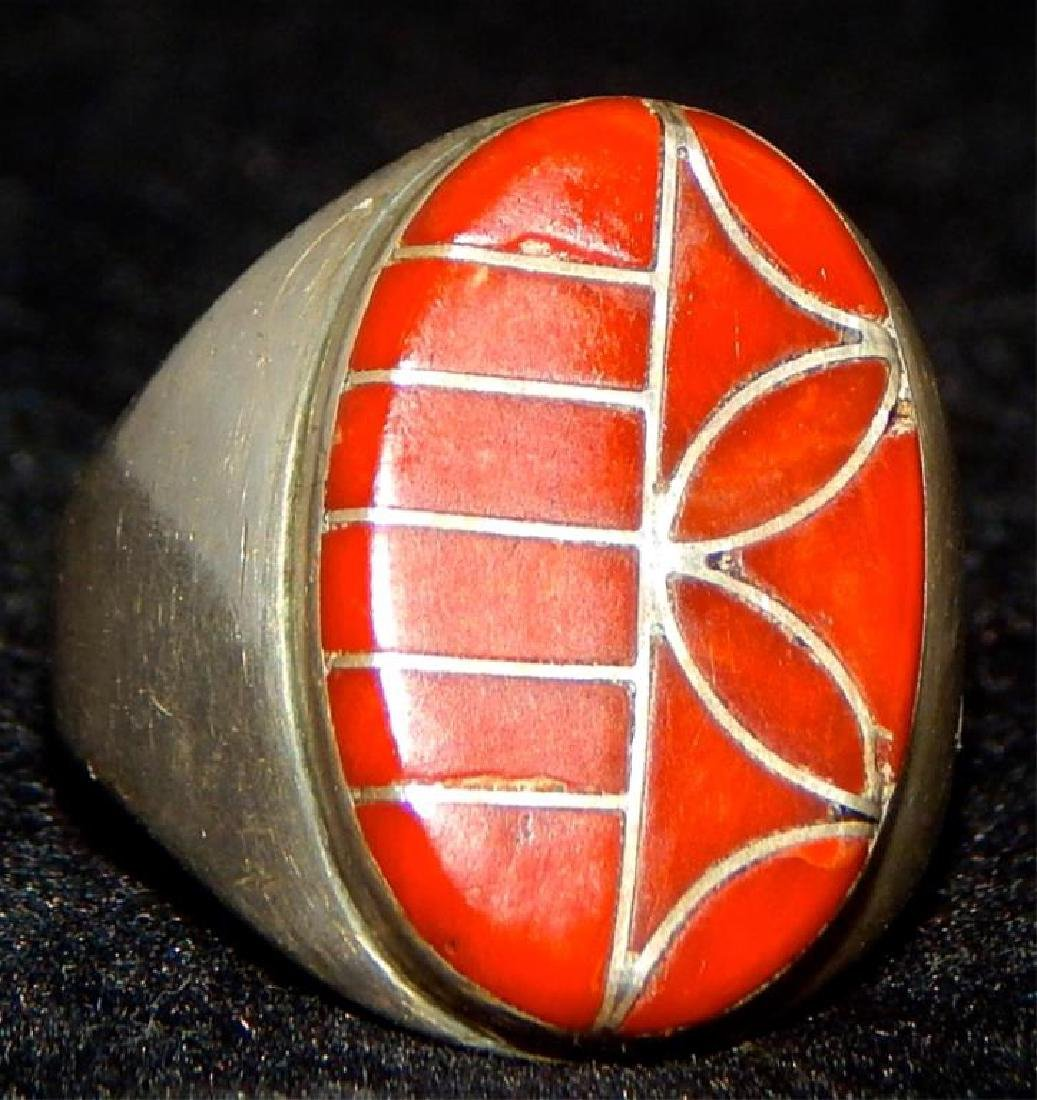 Native American Zuni Sterling & Coral Ring - 2